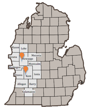 Map with areas we practice in Michigan